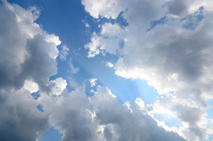Dramatic Cloudscape. Blue Sky With Ornamental Cloudsfilename