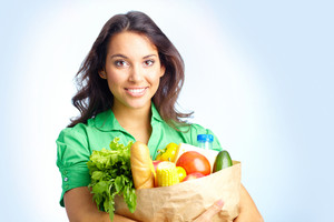 Portrait Of Pretty Girl With Big Paper Sack Full Of Different Fruits And Vegetables In Isolation