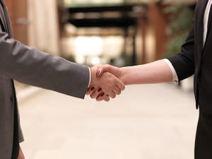 Businesswoman And Business Man Handshake