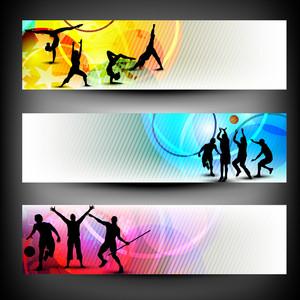 抽象的なカラフルなスポーツのバナーを設定します。