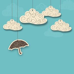 Resumen de fondo de la estación lluviosa con papilas y las nubes