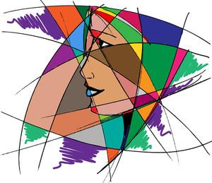 抽象女の顔。ベクトルイラスト