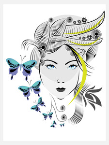 Abstract Woman With Elegant Hair Style And Blue Butterflies.
