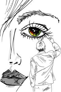 アーティストは、美しい女性の顔を描きます。ベクトルイラスト