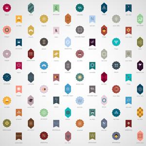 Große Sammlung von verschiedenen Emblemen