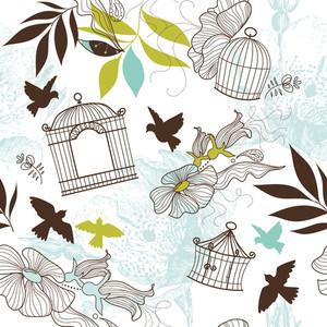 鳥や鳥ケージ。シームレスなパターン