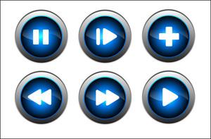ブルー光沢のあるボタン