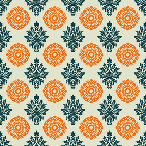 Blue And Orange Decorative Pattern