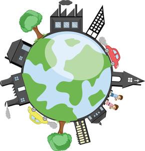 地球の周りの建物、樹木や子供