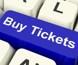 Buy Tickets Computer Key Showing Concert Or Festival Admission Purchases Online