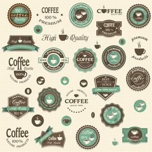 Collezione di etichette di caffè ed elementi