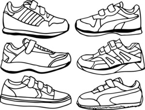 Collection Of Kids Sports Shoes. Vector Illustration