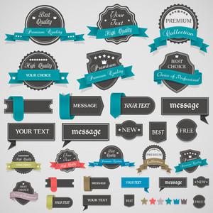 Colección de etiquetas y cintas de la vendimia
