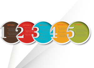 Colorful Round Numbered Banners For Infographics