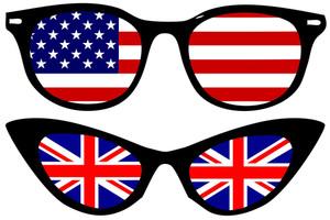 アメリカとイギリスの国旗とクールな眼鏡