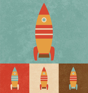 Cute Toy Rocket | Cartoonish Design | Vintage Style