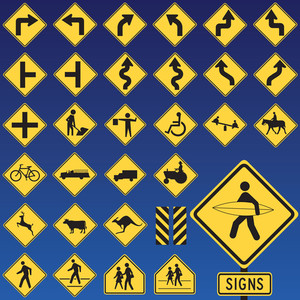 Danger Road Signs Collection