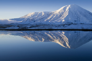 Snowy mountains reflected in a smooth lake