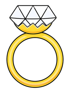 Diamond Ring - Cartoon Vector Illustration