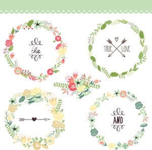 Floral Frame Collection. Set di fiori carino retrò Disposti Un a forma di corona perfetta per nozze inviti e carte di compleanno