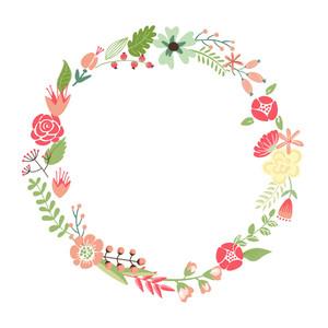Floral Frame. Rétros fleurs mignonnes Disposés Un Une forme de la couronne parfait pour invitations de mariage et cartes d'anniversaire