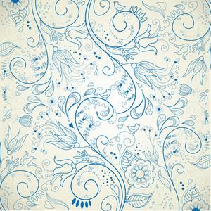 Mano floral fondo dibujado