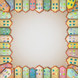 カラフルな住宅のフレーム