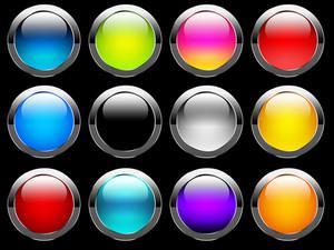 光沢のある丸いボタン