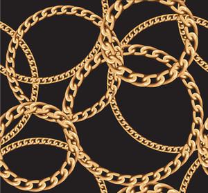 ゴールドチェーンのシームレスなベクトルの背景。