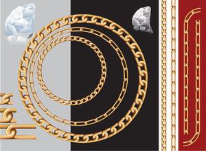 ゴールドチェーンとダイヤモンド。ベクターは、チェーンのパターンブラシが含まれています。