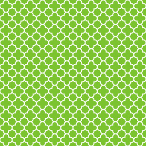 Pattern Of Green And White Quatrefoil
