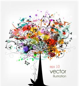 Grunge colorido Ilustración del vector del árbol