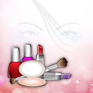 化粧品で美しい少女の顔のイラスト