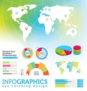 Infografía elementos - mapa del mundo y gráficos de la Información