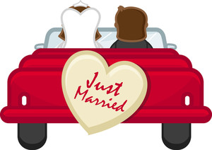 Just Married - Couple Going From Honeymoon - Cartoon Vector