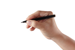Male Hand With Pen Isolated