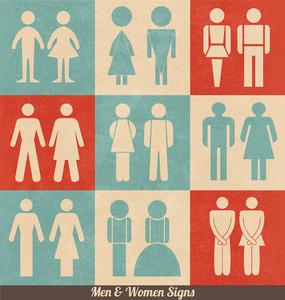 男性と女性の看板|レトロデザイン|トイレのアイコン|トイレの看板|トイレのピクトグラム