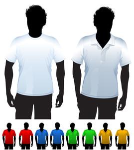 メンズTシャツとポロシャツデザインテンプレート。ブラックボディシルエットを持ちます。ベクター。