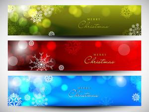 Merry Christmas Website Header Or Banner Set