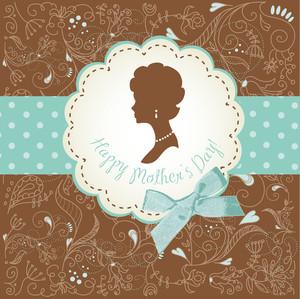 어머니의 날 카드. 여성의 실루엣으로 귀여운 빈티지 프레임