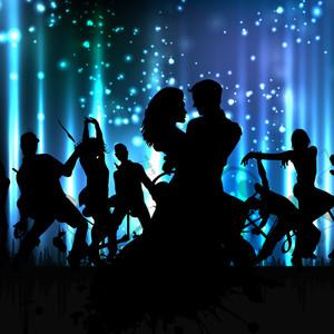 ミュージカルダンスパーティーの背景。フライヤーやバナー。