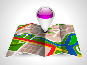 Carte Navigation Ou Route Map Avec Pointer sur fond gris.