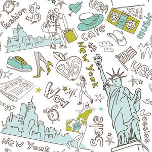 ニューヨークシームレスな落書きのパターン