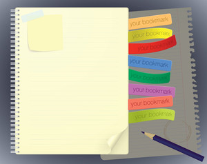 Notebook With Bookmarks. Vector Template.