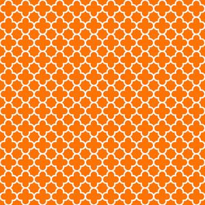 オレンジと白の四葉のパターン
