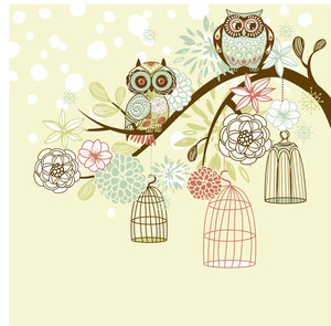 Owl Winter Floral Background. Owls Out Of Their Cages Concept Vector