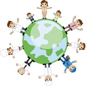 人々は地球の周りに立ち - ビジネス漫画のキャラクターのベクトル