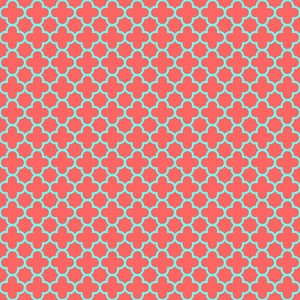 Red And Turquoise Quatrefoil Pattern