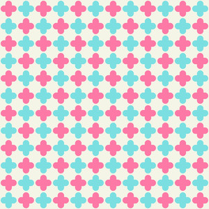 Pink And Turquoise Quatrefoil Pattern