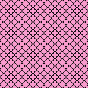 Pink And Black Quatrefoil Pattern
